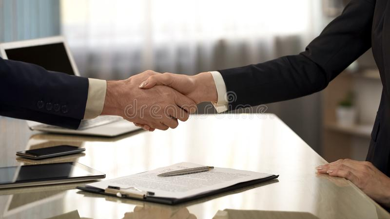 Business partners shaking hands after contract signing, companies cooperation royalty free stock image