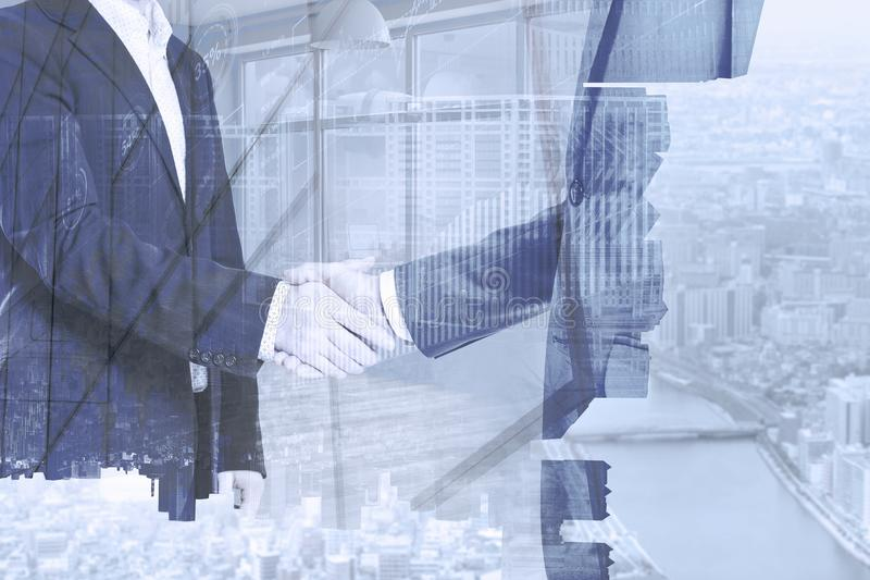 Business partners shaking hands. Great deal for both royalty free stock image