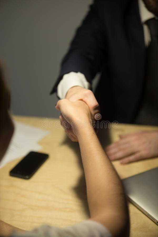 Business partners shaking hands in office royalty free stock photo