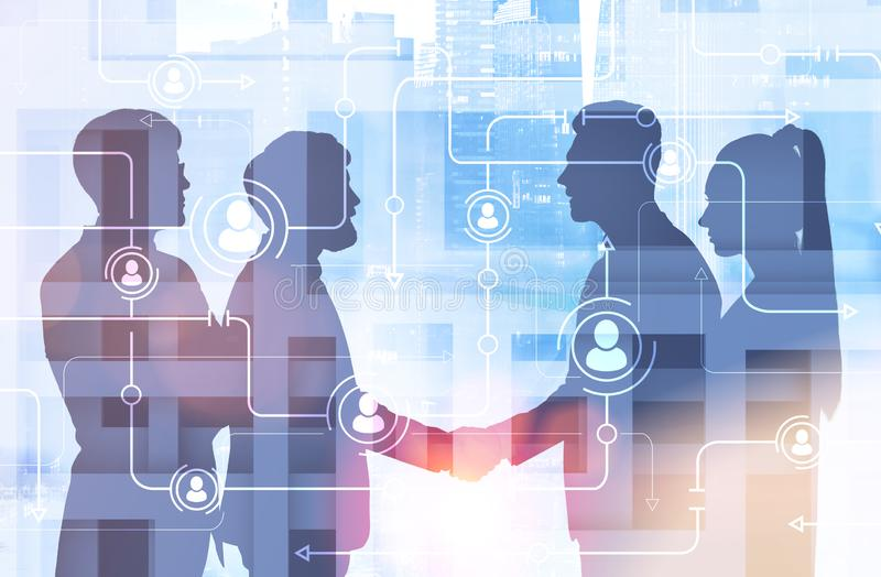 Business partners shaking hands, people network royalty free illustration