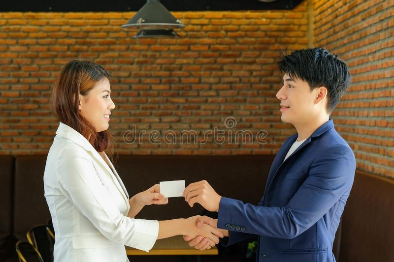 Business partners shaking hands, successful signing royalty free stock image