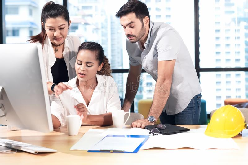 Business partners training and discussing contract and graph of financial report development, new project investment business job. stock photos