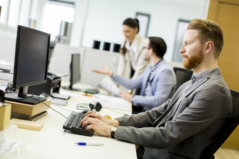 Business partners working in modern office royalty free stock photo