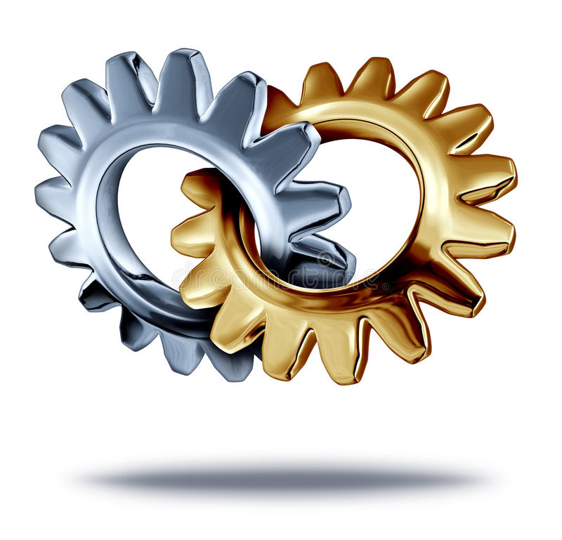 Business Partnership. Business teamwork partnership concept with chrome and a gold metal gears or cogs connected together in the shape of a heart as a symbol of stock illustration