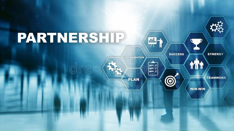 Business partnership concept. Successful deal after great meeting. Multiple exposure, mixed media royalty free stock image