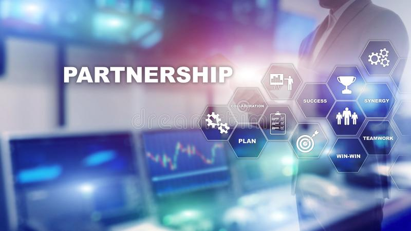 Business partnership concept. Successful deal after great meeting. Multiple exposure, mixed media.  royalty free stock photography