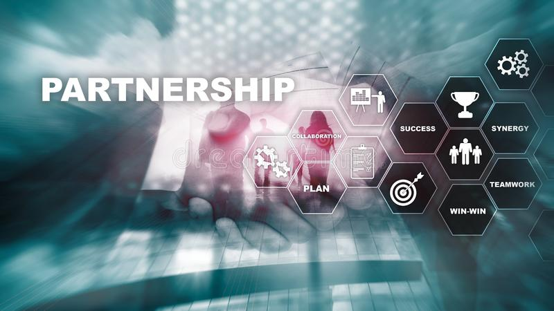 Business partnership concept. Successful deal after great meeting. Multiple exposure, mixed media. Business partnership concept. Successful deal after great stock images