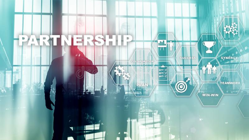 Business partnership concept. Successful deal after great meeting. Multiple exposure, mixed media.  royalty free stock image