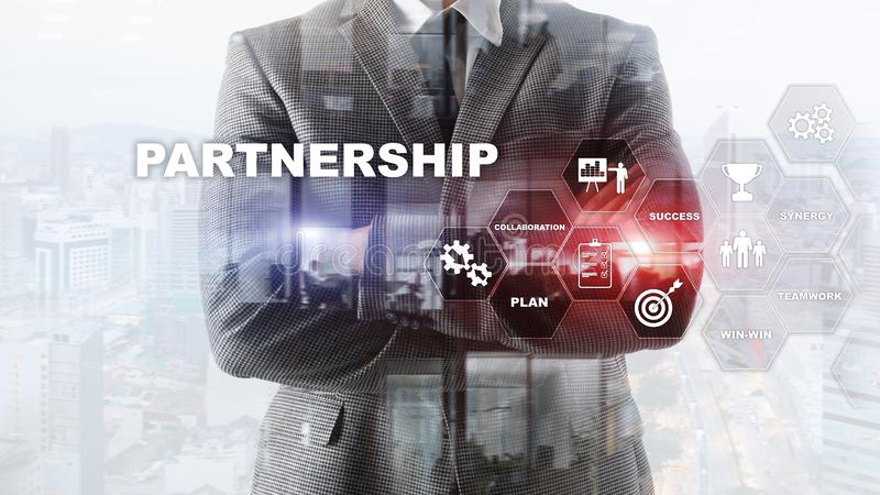 Business partnership concept. Successful deal after great meeting. Multiple exposure, mixed media. Business partnership concept. Successful deal after great stock image