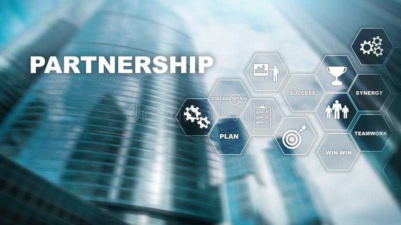 Business partnership concept. Successful deal after great meeting. Multiple exposure, mixed media.  royalty free stock photos