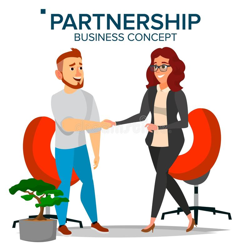 Business Partnership Concept Vector. Business Man And Business Woman. Greeting Shake. Company Cooperation Concept vector illustration