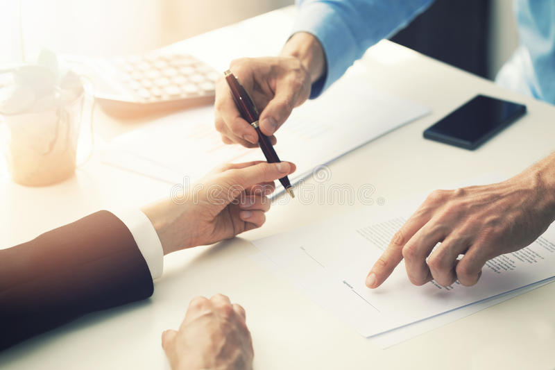 Business partnership contract signing stock photos