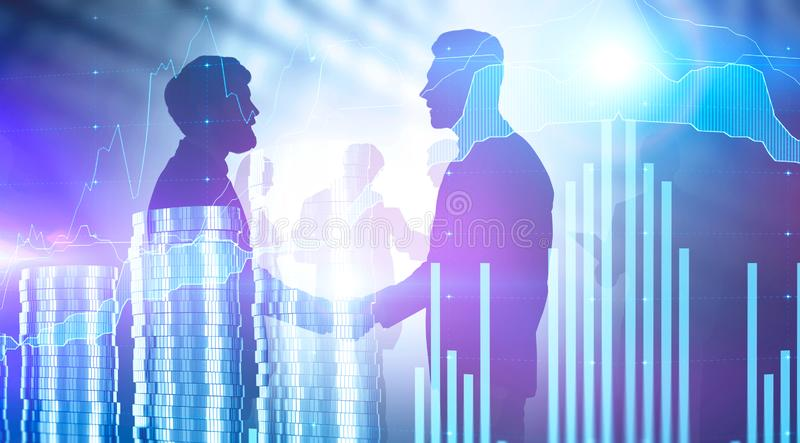 Business partnership and digital graph, money. Two businessmen shaking hands over blurred background with business people silhouettes and double exposure of stock images