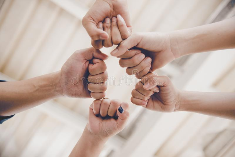 Business partnership giving fist bump to Start up new project. Business and Teamwork of Partnership concept. Corporation meeting royalty free stock photos