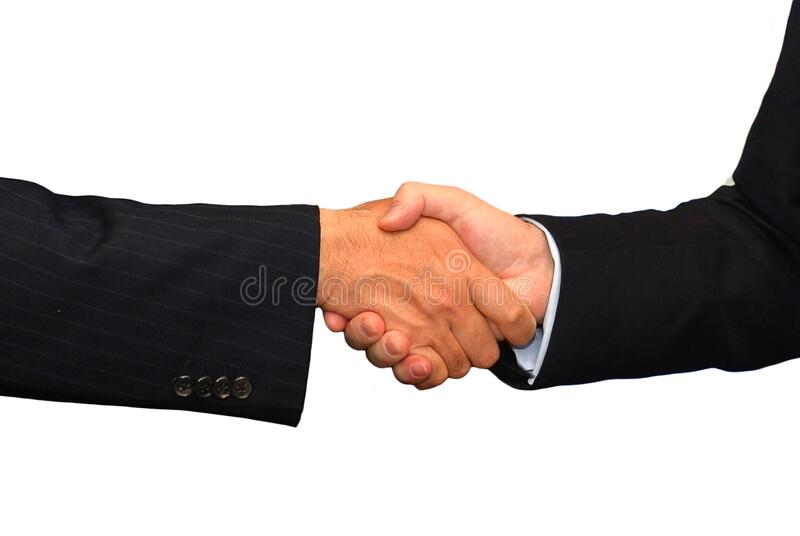 Business partnership hand shake concept in close up royalty free stock photo