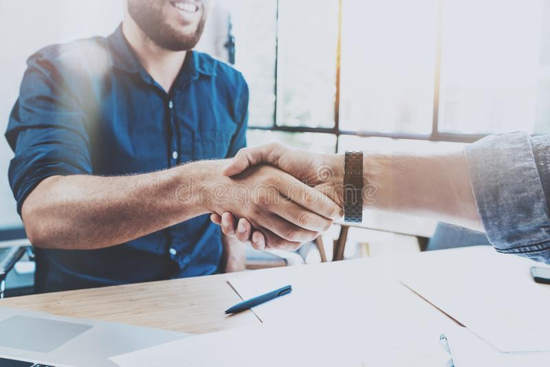 Business partnership handshake concept.Photo two businessman handshaking process.Successful deal after great meeting. Horizontal, blurred background royalty free stock photo