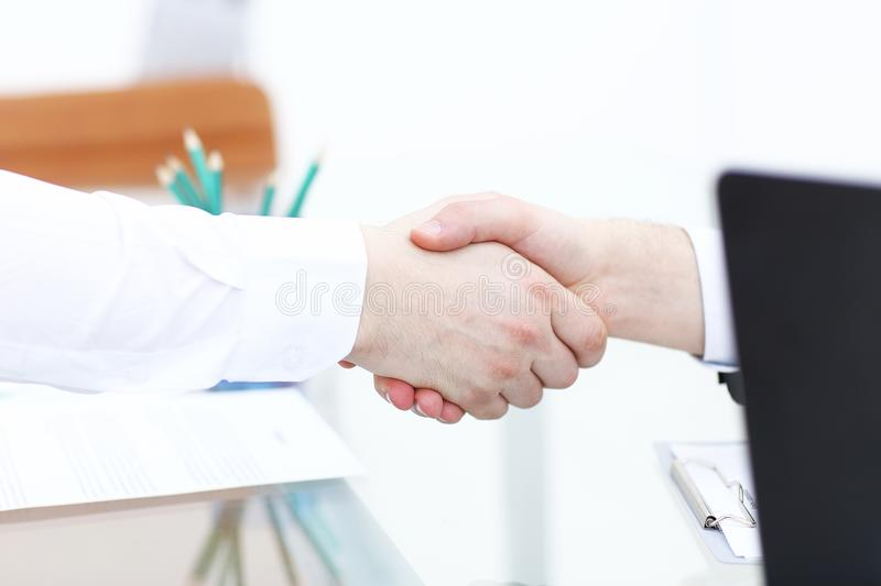 Business partnership meeting concept. Image businessmans handshake. Successful businessmen handshaking after good deal.  stock photos