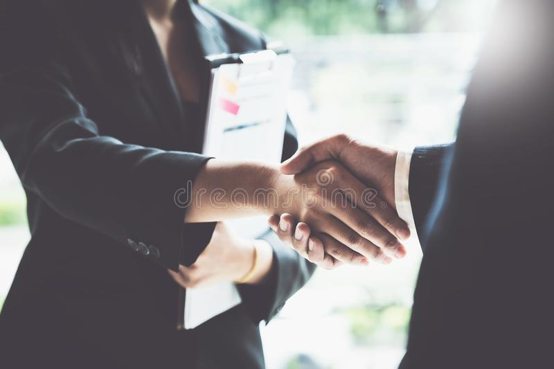 Business partnership meeting concept. Image businessmans handshake. Successful businessmen handshaking after good deal.  royalty free stock photos