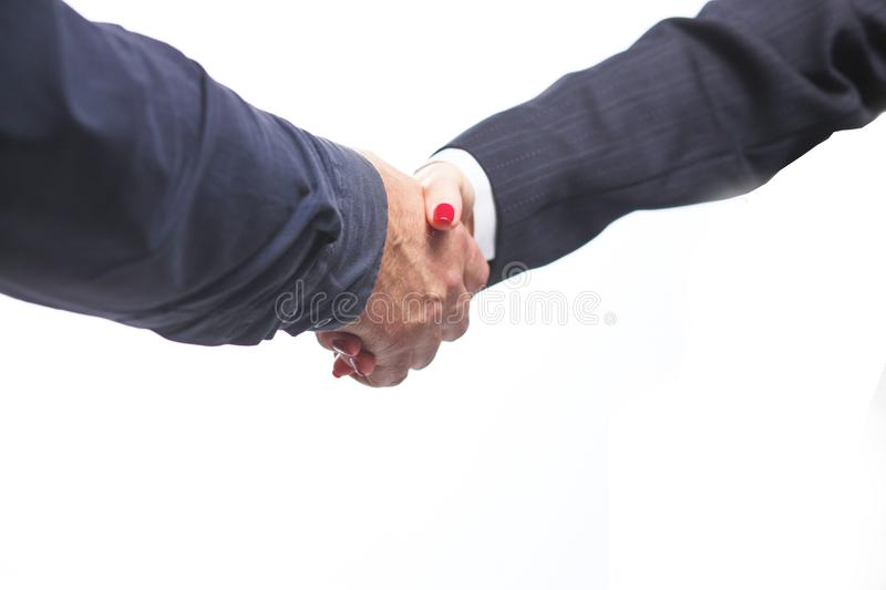 Business partnership meeting concept. Image businessmans handshake. Successful businessmen handshaking after good deal royalty free stock photography