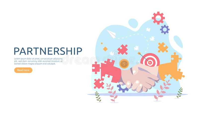 Business partnership relation concept with hand shake and tiny people character. team working together template for web landing royalty free illustration