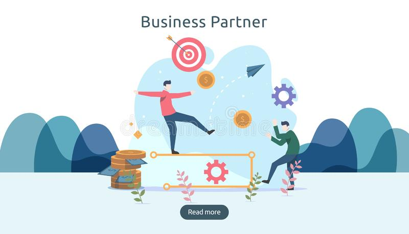 Business partnership relation concept idea with tiny people character. team working partner together template for web landing page. Banner, presentation vector illustration