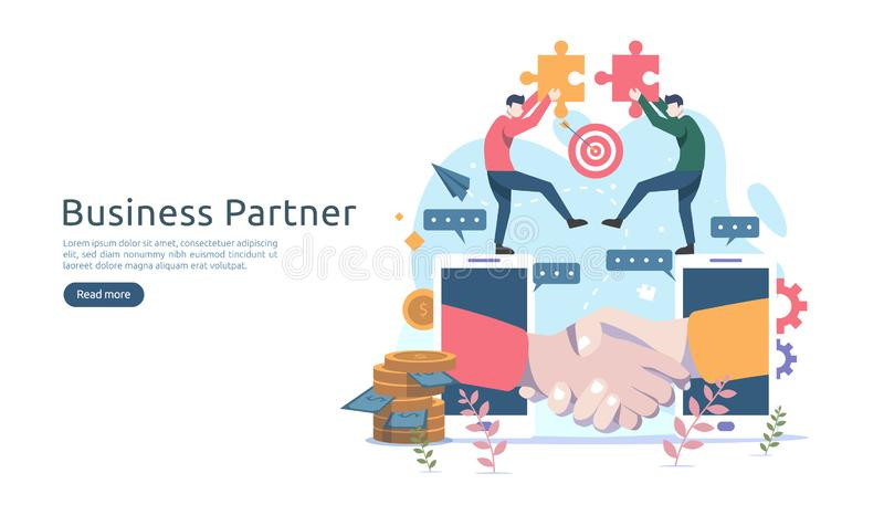 Business partnership relation concept idea with tiny people character. team working partner together template for web landing page. Banner, presentation stock illustration