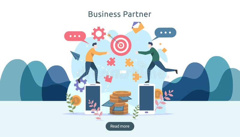 Business partnership relation concept idea with tiny people character. team working partner together template for web landing page. Banner, presentation royalty free illustration