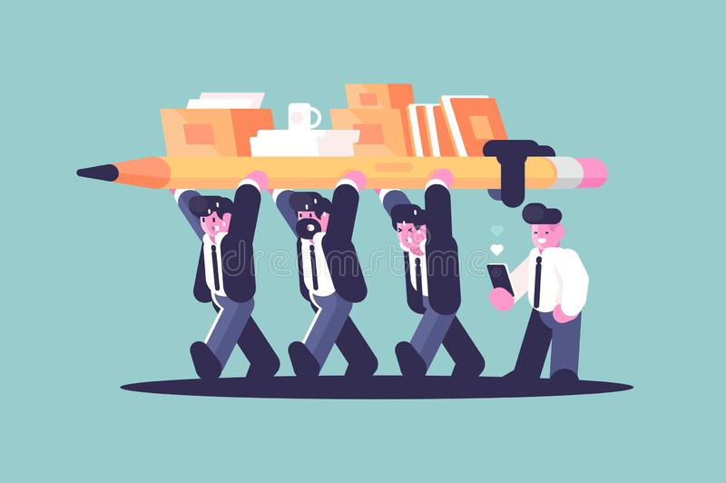 Business partnership team building work. Flat style concept vector illustration. Cartoon creative businessmen holding pencil and office documents together vector illustration