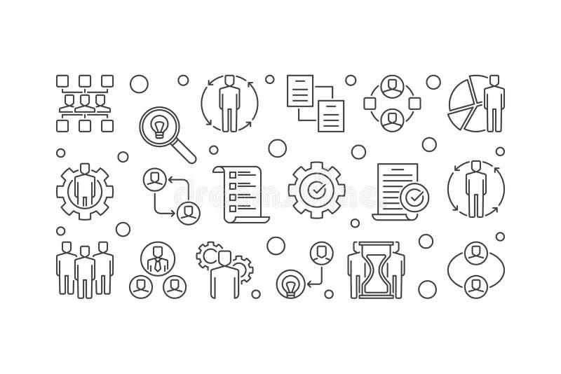 Business Partnerships vector outline banner or illustration royalty free illustration