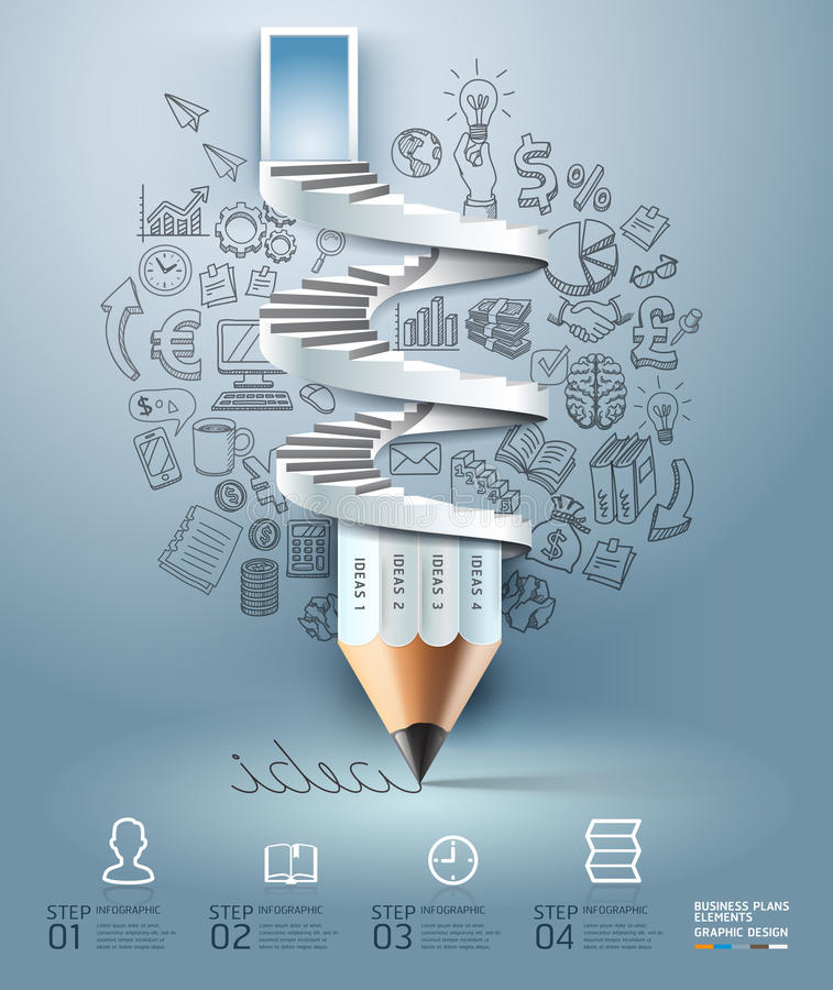 Business pencil staircase Infographics option. royalty free illustration