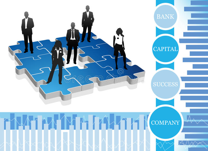 Business people. Vector illustration of business people on the puzzle royalty free illustration