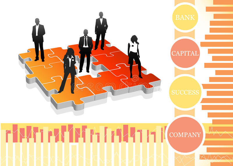 Business people. Vector illustration of business people on the puzzle vector illustration