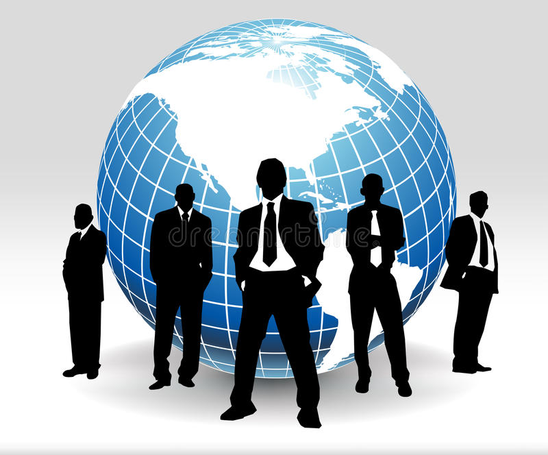 Business people. And globe of the world stock illustration
