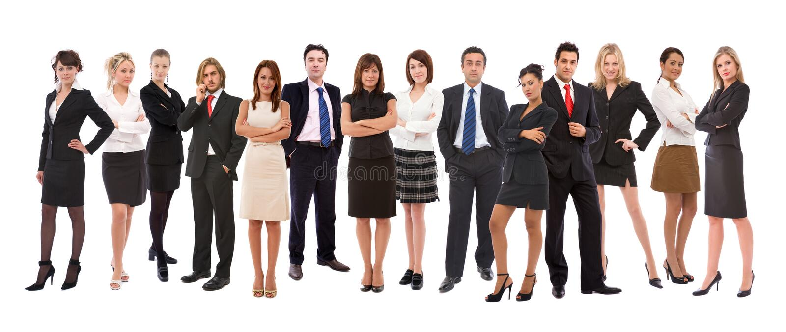 Business people. Lots of different business people on white background royalty free stock photo