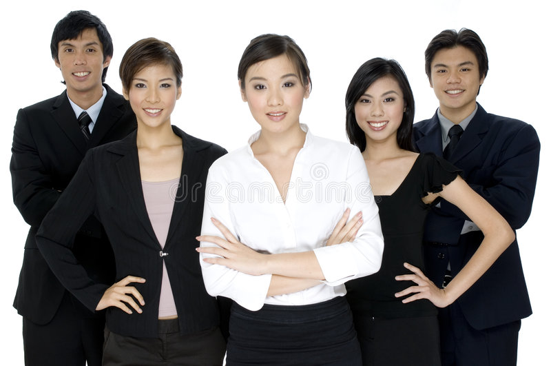 Business People. A group of five young business people on white background royalty free stock photography