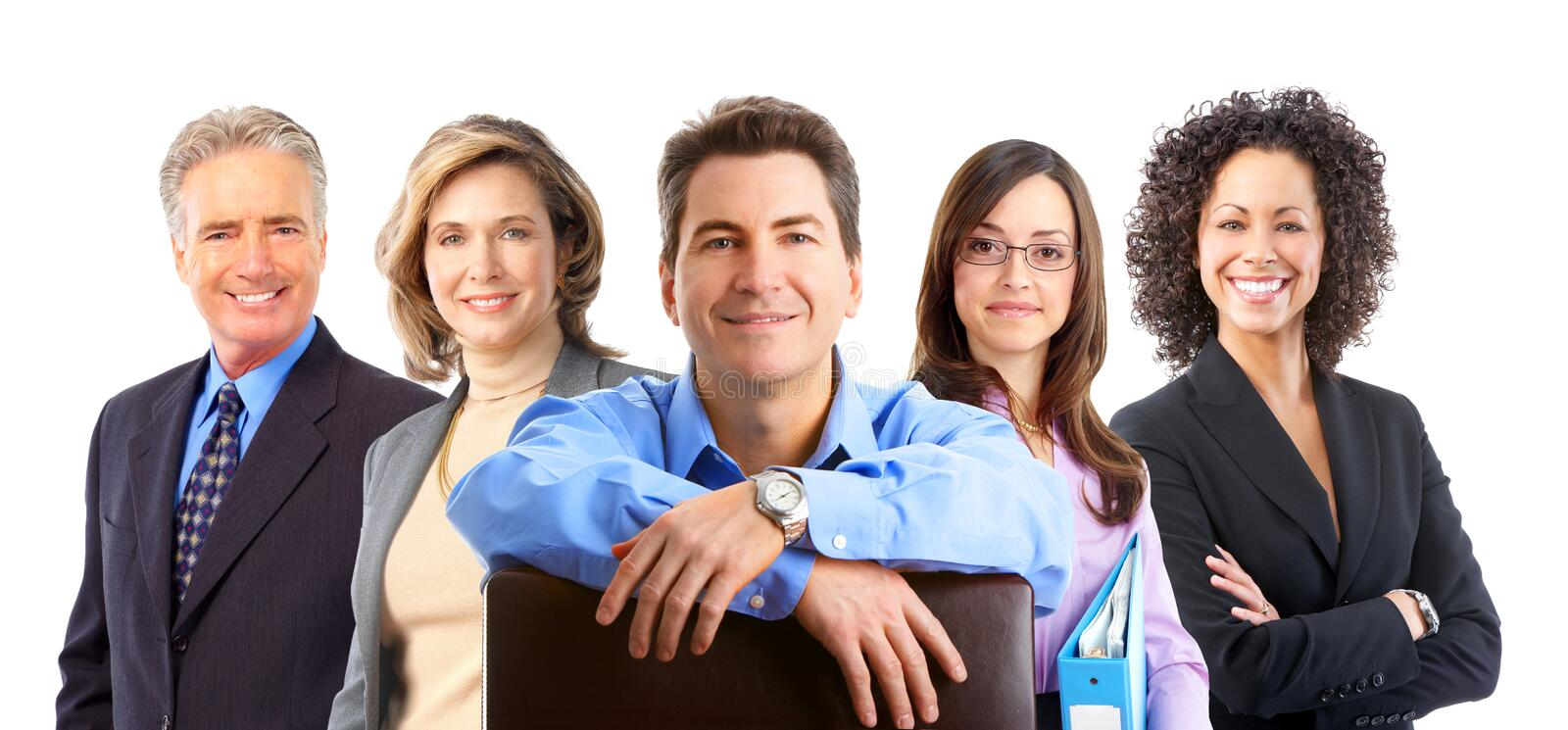 Business people. Group of business people. Isolated over white background stock images