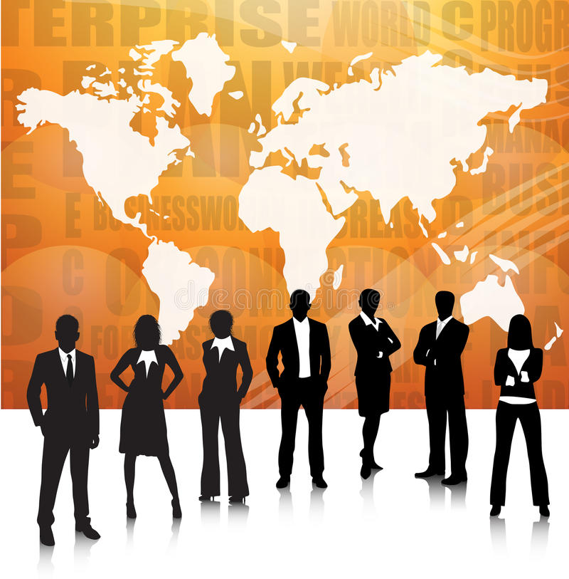 Business people. Illustration of business team with map.Very useful business concept stock illustration