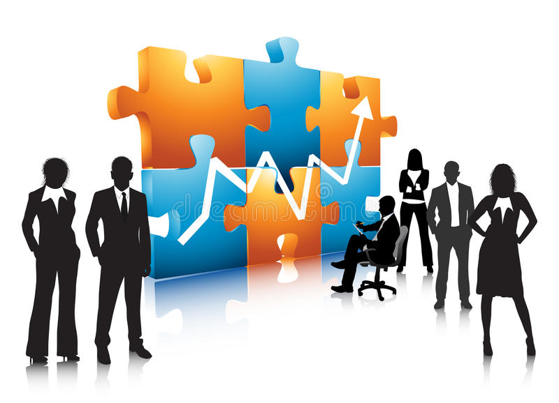 Business people. Illustration of business team with puzzle.Very useful business concept royalty free illustration