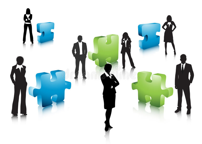 Business people. Illustration of business team with puzzle.Very useful business concept vector illustration
