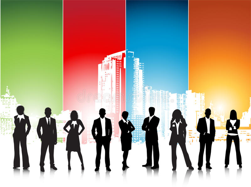 Business people. Illustration of business team in city.Very useful business concept stock illustration
