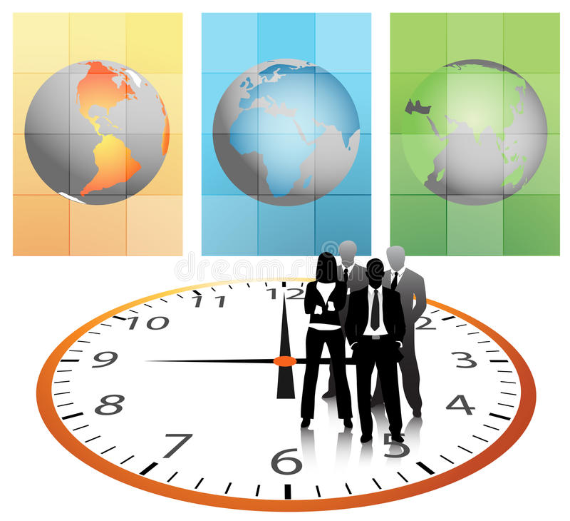 Business people. Illustration of business team with clock.Very useful business concept vector illustration