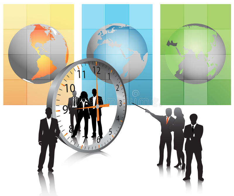 Business people. Illustration of business team with clock.Very useful business concept royalty free illustration
