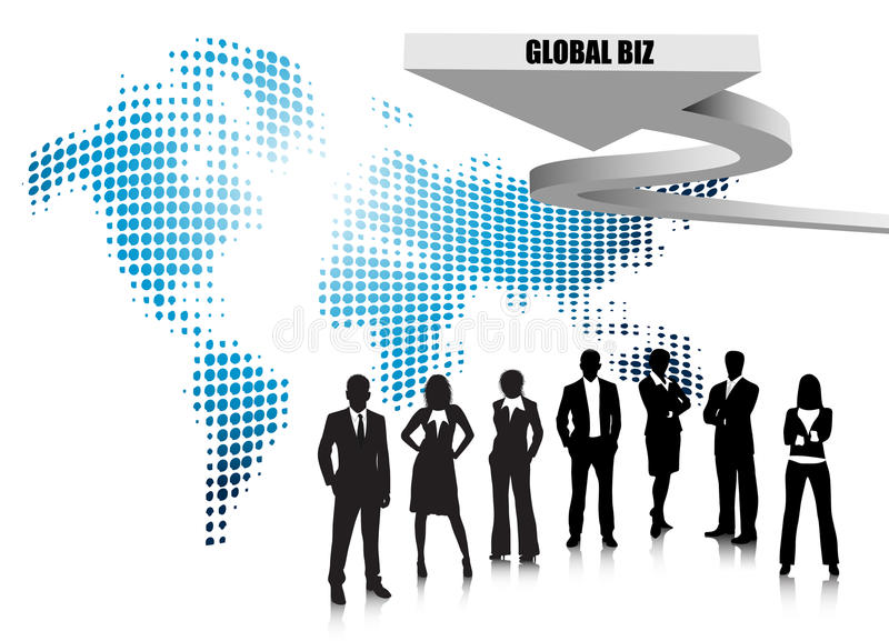 Business people. Illustration of business team with world map.Very useful business concept stock illustration