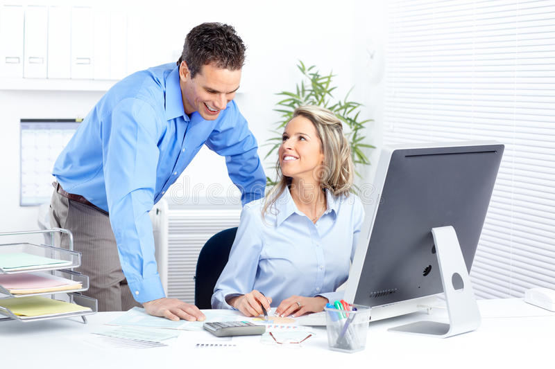 Business people. Working with computer in the office royalty free stock photography