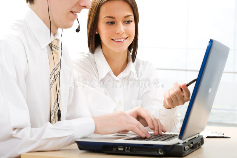 Business people. Portrait of business people working in office royalty free stock photo