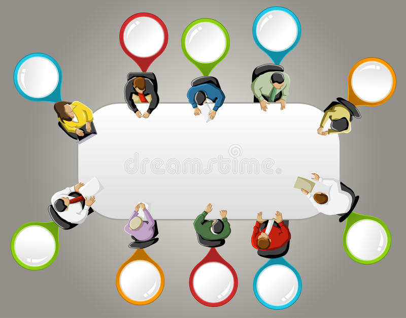 Business people. Group of business people working in office table with colorful pointers. Vector label stock illustration