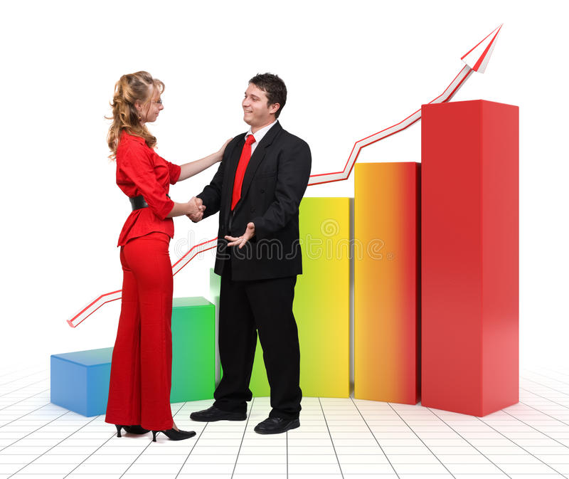 Business people - 3d financial graph stock images