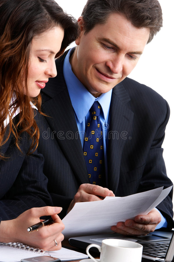 Business people. Working with laptop. Over white background stock image