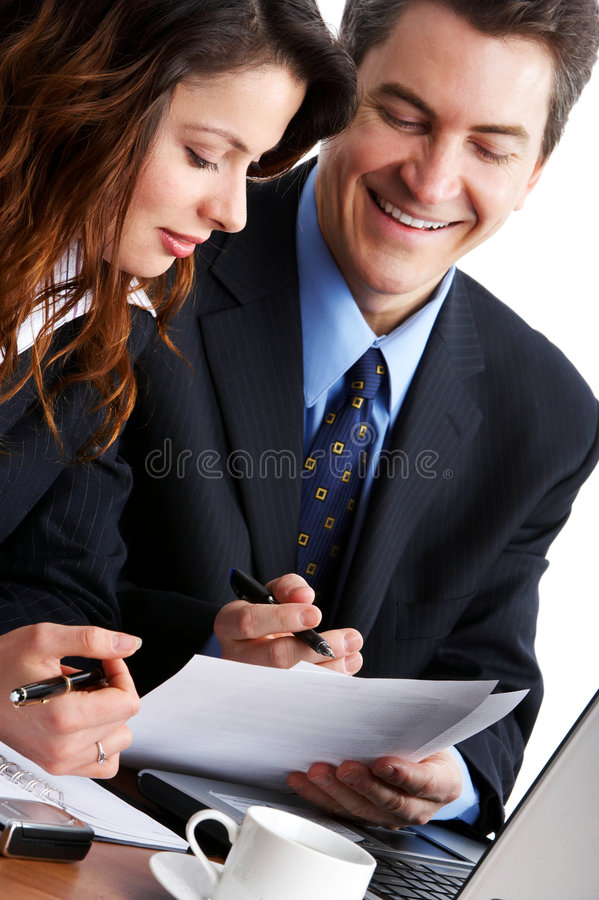 Business people. Working with laptop. Over white background royalty free stock photography