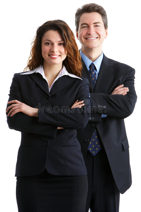 Business people. Young smiling business woman and business man royalty free stock photo